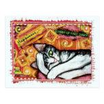 Cartão da arte do gato do zen cartao postal
