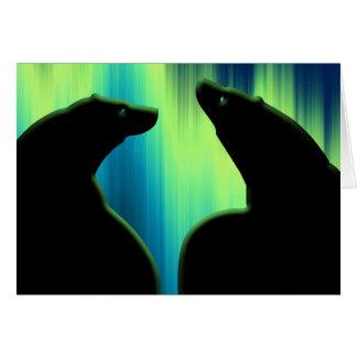 Cartão da arte do urso da aurora boreal dos cartõe