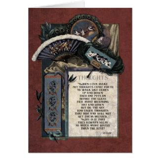 """Cartão da arte do Victorian dos """"pensamentos"""" de"""