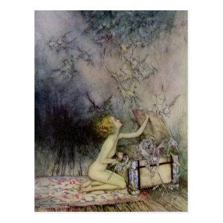 Cartão da arte do vintage da caixa de Pandora da