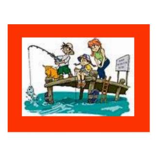 cartão da arte dos desenhos animados da pesca