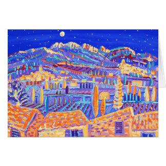 Cartão da arte: Estrelas que cintilam sobre o vale