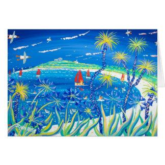 Cartão da arte: Palmas e Agapanthus Wiggly, Tresco
