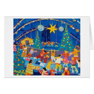 Cartão da arte: Patinando sob a luz das estrelas,