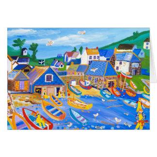 Cartão da arte: Pescadores de lagosta, Cadgwith,