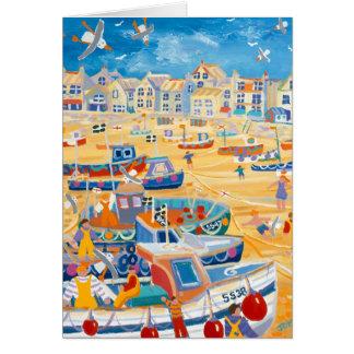 Cartão da arte: Porto de St Ives, Cornualha