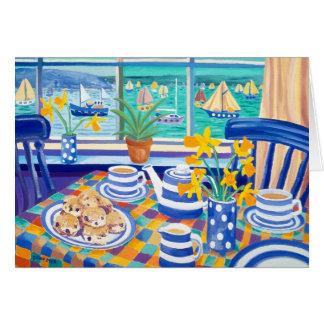 Cartão da arte: Teatime Cornish (azul Cornish)