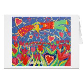 Cartão da arte: Tentação nas tulipas. Namorados