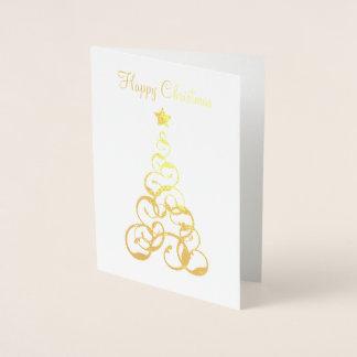 Cartão da árvore de Natal da folha de ouro