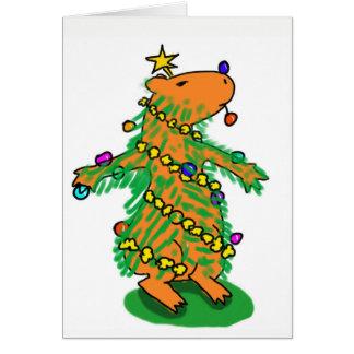 Cartão da árvore de Natal do Capybara