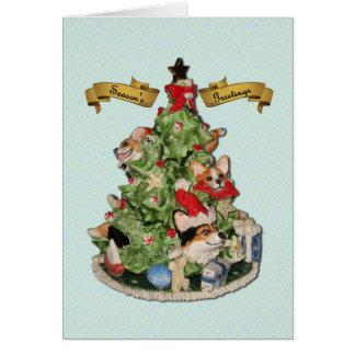 Cartão da árvore de Natal do Corgi