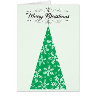 Cartão da árvore de Natal do floco de neve