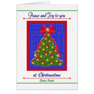 Cartão da árvore de Natal para a tia - paz e