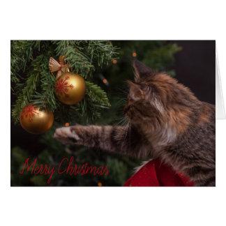 Cartão da árvore do gato do Feliz Natal - VAZIO