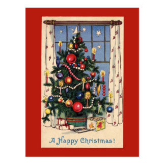 Cartão da árvore do natal vintage