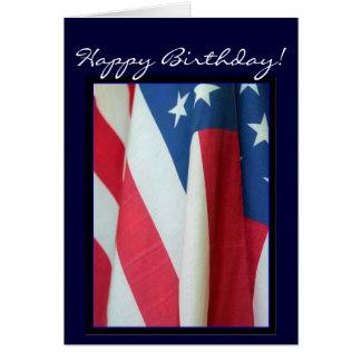 Cartão da bandeira americana de feliz aniversario