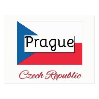 Cartão da bandeira da república checa de Praga