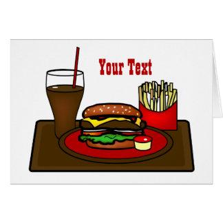 Cartão da bandeja do Hamburger