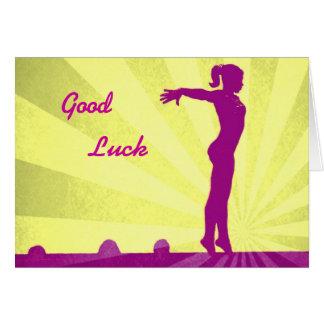 Cartão da boa sorte com Gymnast cor-de-rosa