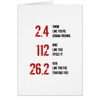 Cartão da boa sorte de Ironman do Triathlon - 2,4,