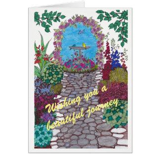 Cartão da boa sorte do trajeto do jardim