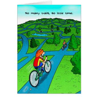 Cartão da boa sorte para o ciclista - fuga do