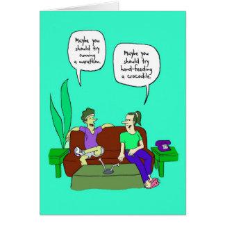 Cartão da boa sorte para o Marathoner - crocodilo