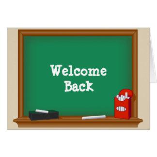 Cartão Da boa vinda estudantes para trás