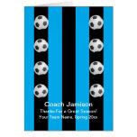 Cartão da bola de futebol para o treinador, azul,