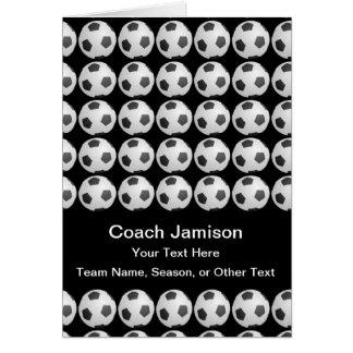 Cartão da bola de futebol para o treinador, preto,