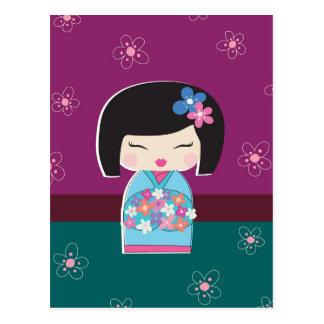 Cartão da boneca de Kokeshi do japonês (ameixa)
