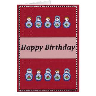 Cartão da boneca do russo do feliz aniversario
