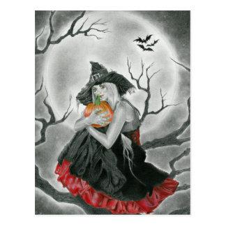 cartão da bruxa da noite do Dia das Bruxas