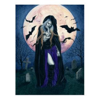 Cartão da bruxa do Dia das Bruxas da lua cheia