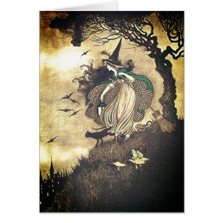 Cartão da bruxa do Dia das Bruxas do vintage