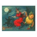 Cartão da bruxa do Dia das Bruxas do vintage Cartão Postal