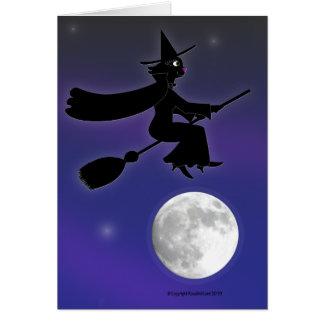 Cartão da bruxa do gato preto