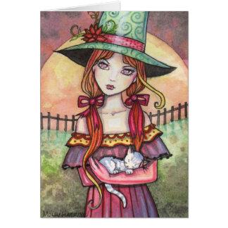 Cartão da bruxa e do gato do Moonrise da colheita