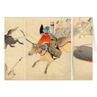 Cartão da caça do arqueiro do samurai