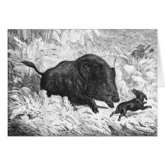 Cartão da caça do javali do vintage