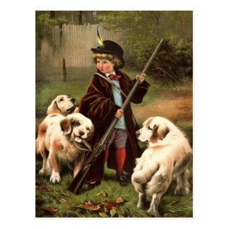Cartão da caça do menino do vintage