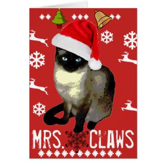 """Cartão Da """"cartão do feriado do Feliz Natal Sra. Garra"""""""