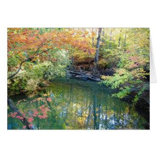 Cartão da cena da água do outono do parque de