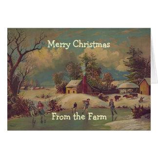 Cartão da cena da fazenda do país do natal vintage