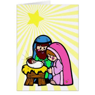 Cartão da cena da natividade dos desenhos animados
