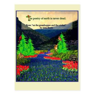 Cartão da cena da natureza das citações de Keats