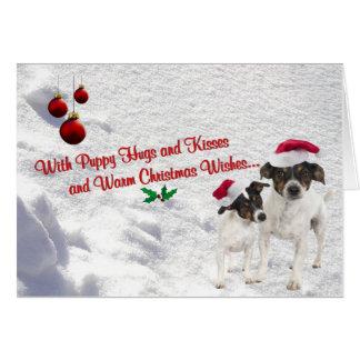 Cartão da cena da neve do Natal do Fox Terrier do