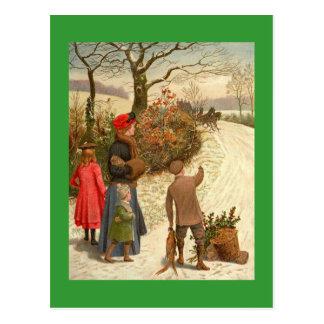Cartão da cena do inverno do vintage
