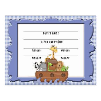 Cartão da certidão de nascimento do menino da arca