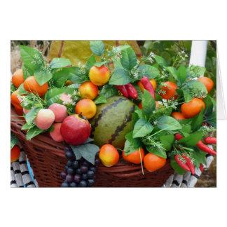 Cartão da cesta de fruta da colheita da acção de